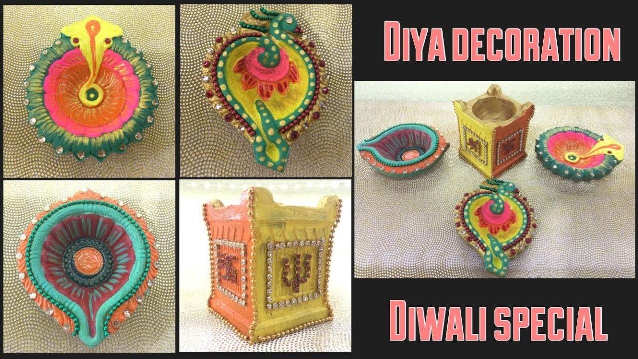 DIY : Diya decoration || How to decorate diya at home || Lets make Art