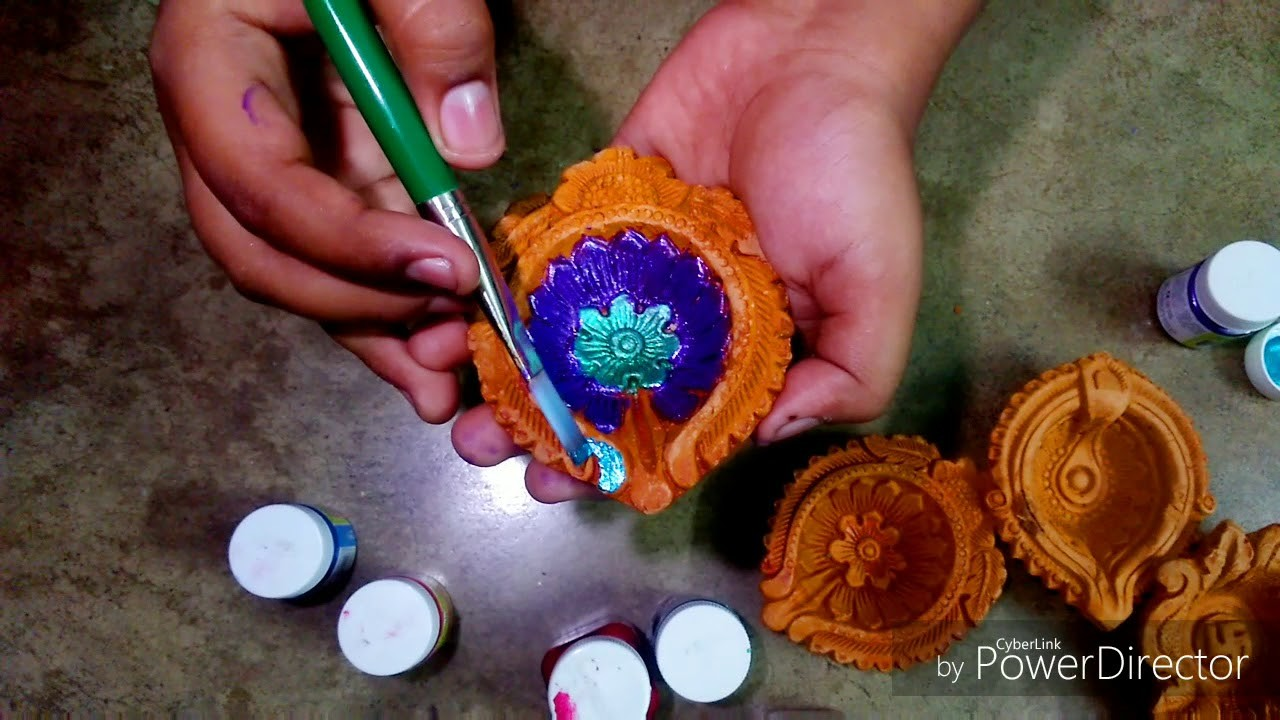 DIY : Diya Decoration Idea, Easy Diwali Diya painting in 5 minutes . Diwali Decorations.