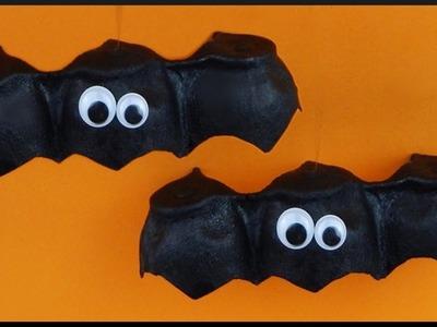 DIY | Easy Halloween Party Deco | Schwebende Eierkarton Fledermaus | Floating egg carton bat