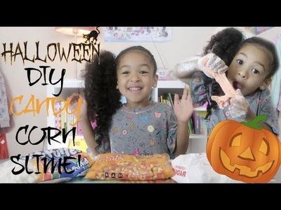 DIY Edible Halloween CANDY CORN SLIME!!!!!