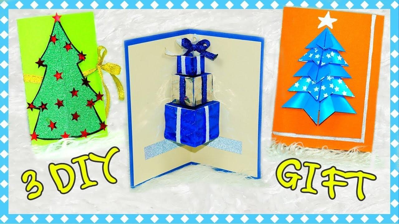 DIY Gift Ideas | 3 Easy DIY Card Ideas | Greeting card New Year and Christmas | Julia DIY