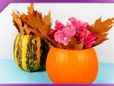 DIY How to make flower vase out of pumpkin, Halloween flowerpot (ENG Subtitles) - Speed up #406