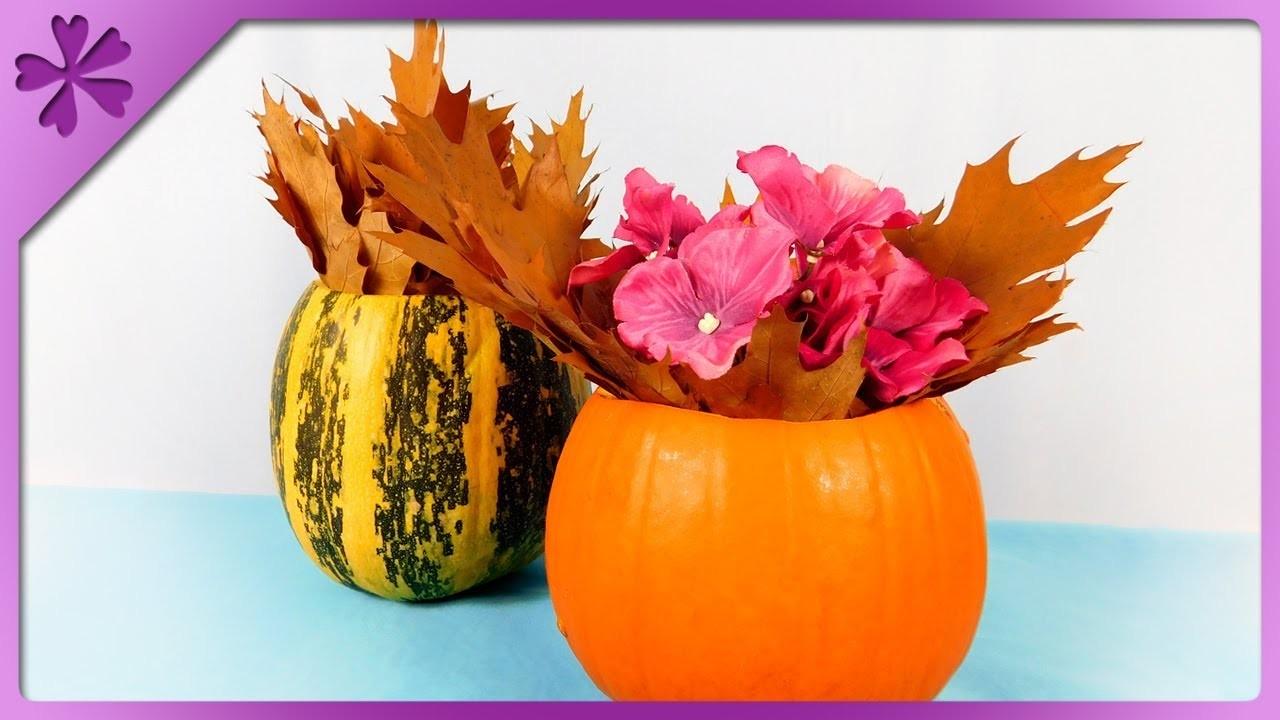 DIY How to make flower vase out of pumpkin, Halloween flowerpot (ENG Subtitles) - Speed up #406