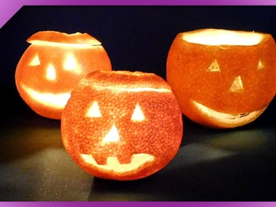 DIY How to make Halloween candle holder out or orange (ENG Subtitles) - Speed up #408