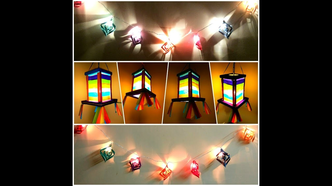 DIY: Last minute DIWALI DECORATIONS- How to make lantern and decorate string lights