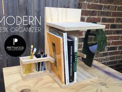 DIY Modern Desk Organizer. DIY Pencil Holder.Book Shelf