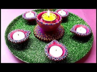 DIY Pooja Thali Decoration for Diwali Festival. Simple and Easy Pooja Thali Decorations Idea. Arti.