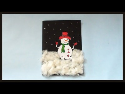 DIY Snowman Greeting Card Making | Simple & Easy Christmas Gift Ideas