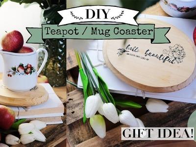 DIY Teapot. Mug Coaster | Farmhouse Style | Gift Idea!