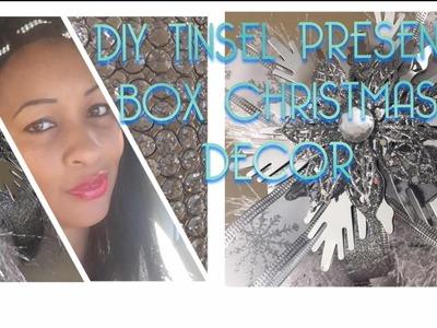 DIY Tinsel Present Box Decor | Christmas 2017 Inspiration