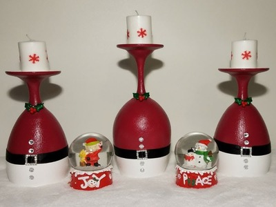 DIY wine glass candle holders xmas centerpiece
