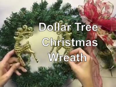 Dollar Tree Christmas Wreath - Cheap Christmas DIY Decor - Decorate for Christmas on a Budget