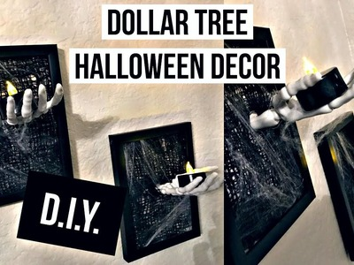 Dollar Tree DIY | EASY SPOOKY HALLOWEEN DECOR | FRAME SKELETON HAND | 2017