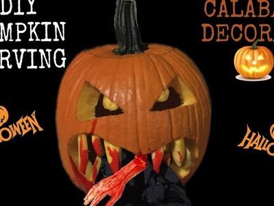 Halloween Calabaza Decoracion.How to Carve Halloween Pumpkins.Diy.Lizz Muller.Sharis Diaz