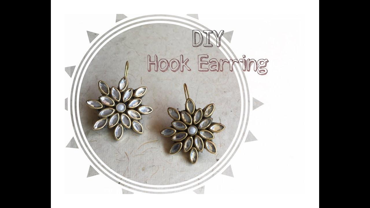 How to Create Beautiful Kundan Hook Earring. DIY Jewelry Making Tutorial