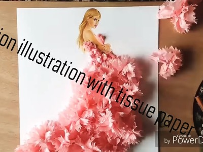 How to draw Fashion illustration with Tissue papers(DIY)