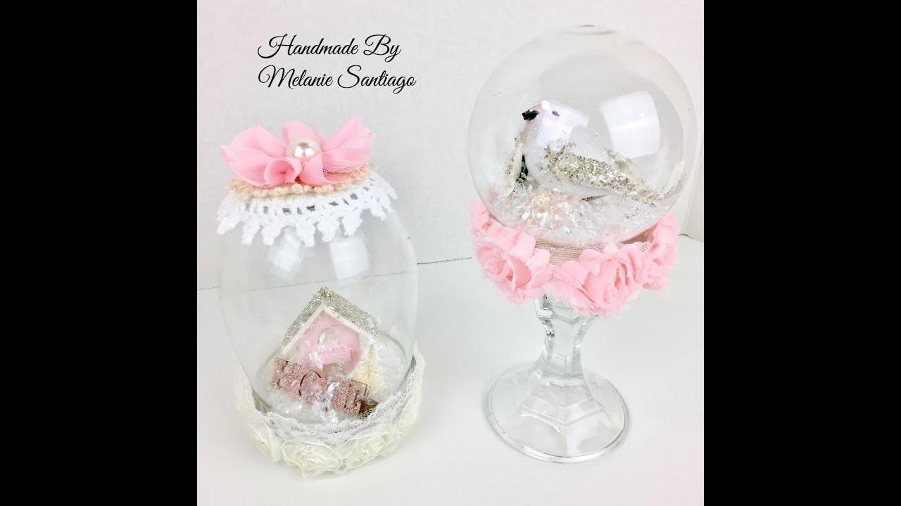 Live, DIY Christmas Ornaments & Decor.Shabby Chic Snow Globes