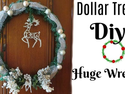 YOU WON'T BELIEVE IT! Dollar Tree DIY Huge Christmas Wreath   BIG in Size Small in Price!