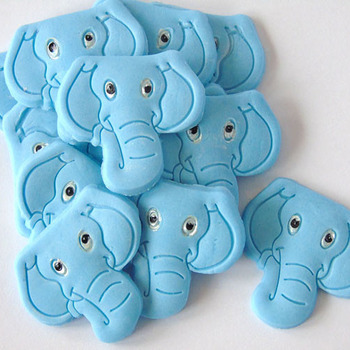 12 Blue Edible Elephants - Baby Shower Cupcake Topper Decorations