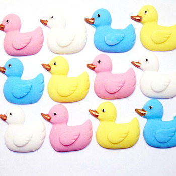 12 Edible Baby Shower Mixed Coloured Duck Cupcake Toppers (Style 2)