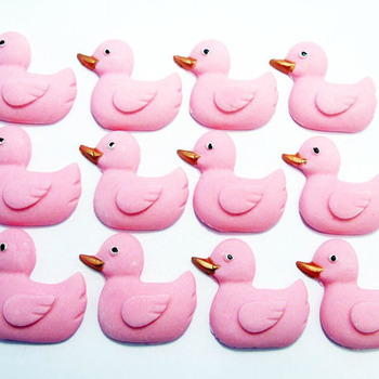 12 Edible Baby Shower Pink Duck Cupcake Toppers (Style 2)