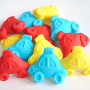 12 Edible Coloured Cars Birthday Cupcake Topper Decorations