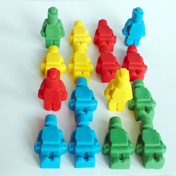 12 Edible Coloured Lego Men Cupcake Toppers
