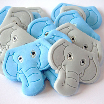 12 Edible Elephants 6 Blue 6 Grey Baby Shower Cupcake Toppers