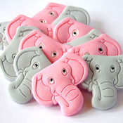 12 Edible Elephants 6 Pink 6 Grey Baby Shower Cupcake Topper Decorations