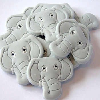 12 Edible Grey Elephant Baby Shower cupcake Topper Decorations