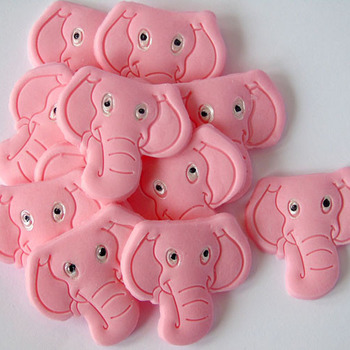 12 Pink Edible Elephant Baby Shower Cupcake Topper Decorations