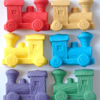 6 Coloured Edible Large Trains Cake Topper Decorations
