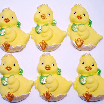 6 Large Edible Easter baby Chicks Cupcake Cake Topper Decorations