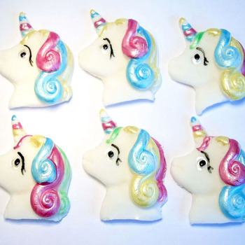 6 Novelty Edible Baby Unicorn cupcake toppers