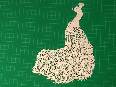 Beautiful peacock paper cutting art.how to make peacock by knife pen on paper. RAINBOW ART