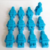 12 Edible Blue Lego Men Cupcake Toppers