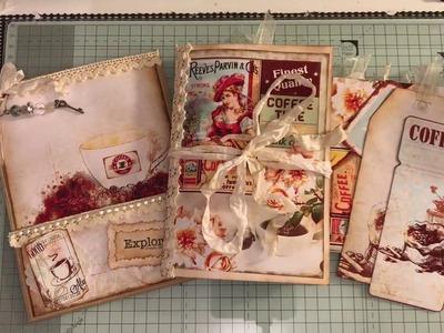 Coffee themed Journal in a stuffed paper bag ARTYmaze