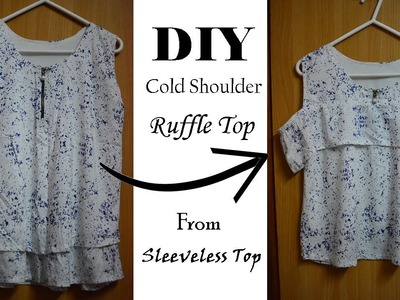 DIY Cold Shoulder Ruffle Top from Old Sleeveless Top