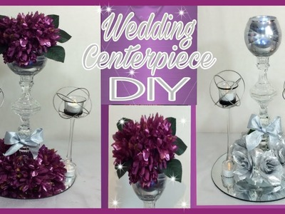 DIY Lighted Purple Floral Arrangement Centerpiece. Silver Wedding Centerpiece. Simply Easy #15