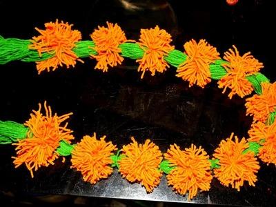 DIY Marigold Garland.How to make Woolen Marigold flower Toran at home.Woolen flower making Tutorial