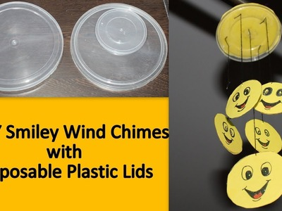 DIY Smiley Wind Chimes with Disposable Plastic Lids