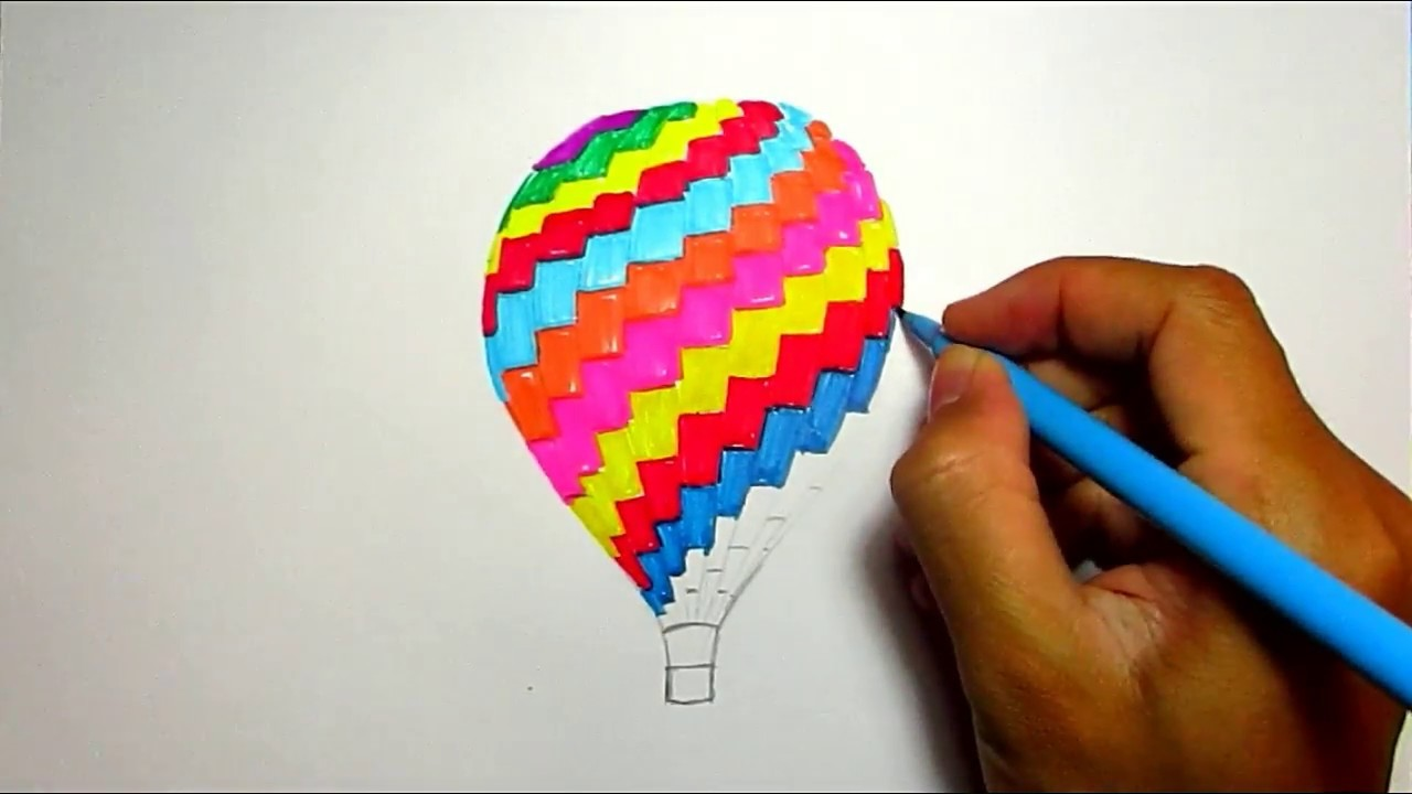 Drawing Ideas Of Hot Air Balloon Easy Drawings For Kids With