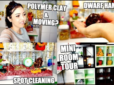 DWARF HAMSTER CAGE SPOT CLEANING   Polymer Clay Charms, Room Tour & Moving?