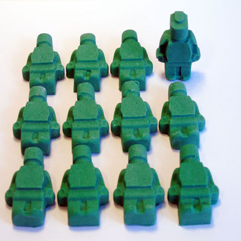 12 Edible Green Lego Men Cupcake Toppers
