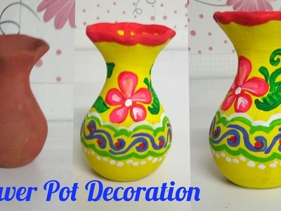 How to paint flower pot at home | DIY Diwali Decoration 2017