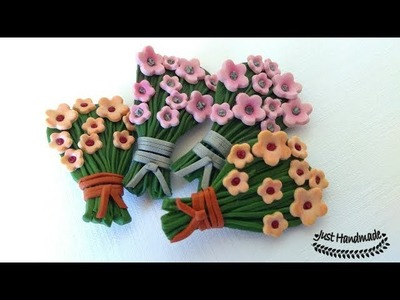 ~JustHandmade~ Easy polymer clay (fimo) flower bouquet brooch tutorial