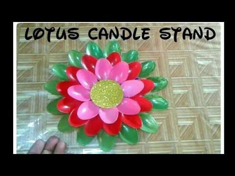 Plastic spoon lotus flower candle standdiwali decoration candle plastic spoon lotus flower candle standdiwali decoration candle stand hindi craft corner mightylinksfo