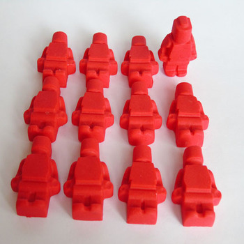12 Edible Red Lego Men Cupcake Toppers