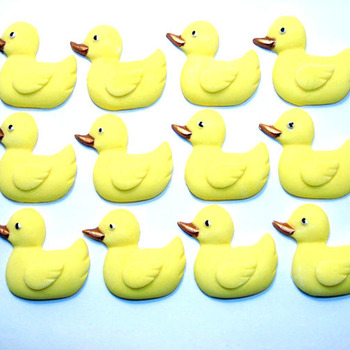 12 Edible Baby Shower Yellow Duck Cupcake Toppers (Style 2)