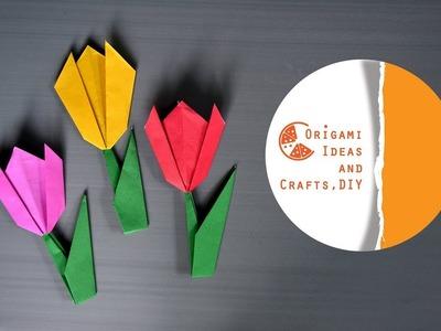 Tulip Flower Origami For Kids  Easy Tulip Flower DIY Origami for Beginners & Kids